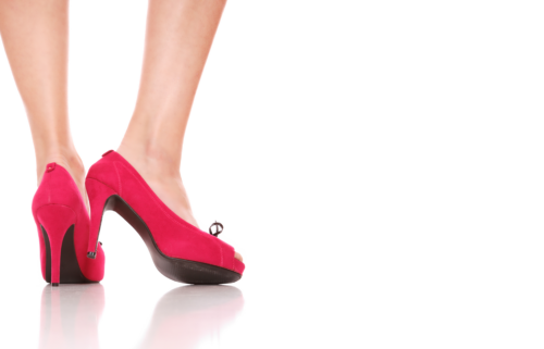 Female Transformation. Bild mit roten High Heels